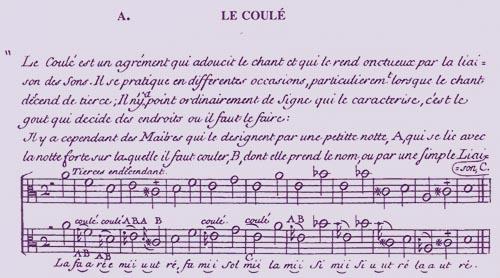"""""""Principes de musique: Divisez en quatre parties...Composez ... par Mr de Montéclair...""""  : Le coulé"""