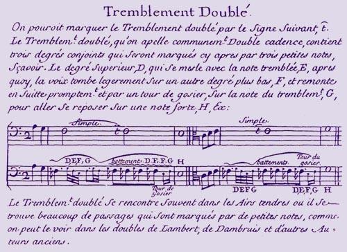 """""""Principes de musique: Divisez en quatre parties...Composez ... par Mr de Montéclair...""""  : le tremblement doublé"""